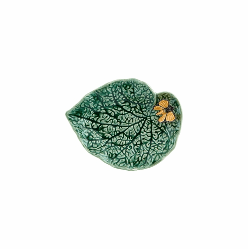 Bordallo Pinheiro Vista Alegre Countryside Leaves Begonia Leaf with Butterfly - Decorated