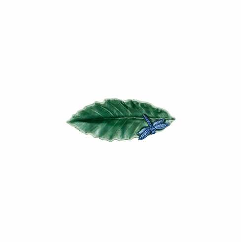 Bordallo Pinheiro Vista Alegre Countryside Leaves Chestnut Leaf with Dragonfly - Decorated