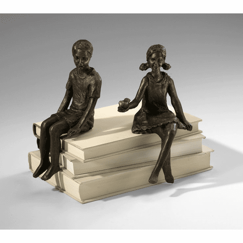 Boy Bronzed Iron Shelf Sitter (Girl Shelf Sitter is Sold Separately)