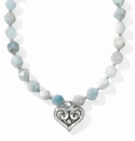Brighton Alcazar Heart Short Necklace Aquamarine
