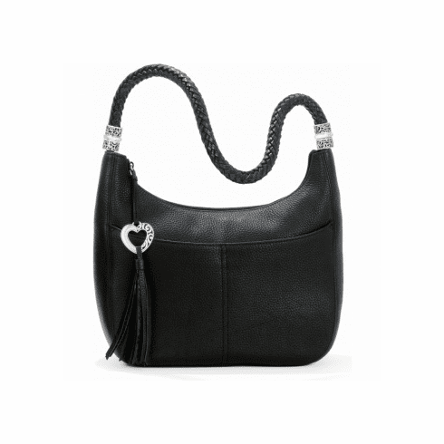 Brighton Barbados Black Ziptop Hobo
