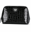 Brighton Bellissimo Heart Large Cosmetic Pouch Black Patent Croco