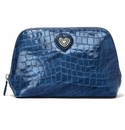 Brighton Bellissimo Heart Large Cosmetic Pouch French Blue Patent Croco
