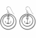Brighton Blue Water Floating Anchor French Wire Earrings Silver