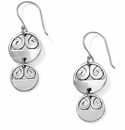Brighton London Groove Disc French Wire Earrings Silver