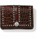 Brighton Pretty Tough Card Case Black-Chocolate Croco