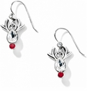 Brighton Reindeer Rock French Wire Earrings Silver-Red