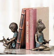 Bronzed Iron, Brass & Marble Bookends