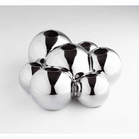 Bubbles Ceramic Vase - Chrome Finish by Cyan Design