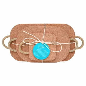 Casafina Cork Collection (3) Trivets with Rope Handles