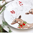 Casafina Deer Friends Dessert Plate Set of 4 White