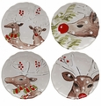 Casafina Deer Friends Dinner Plate Set of 4 White