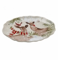 Casafina Deer Friends Large Oval Platter Linen