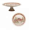 Casafina Deer Friends Large Pedestal Plate Linen