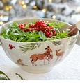 Casafina Deer Friends Large Tall Bowl Linen