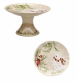 Casafina Deer Friends Small Pedestal Plate Linen