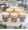Casafina Deer Friends Votive Set of 6 Linen