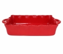 Casafina Large Rectangular Ruffled Baker Red