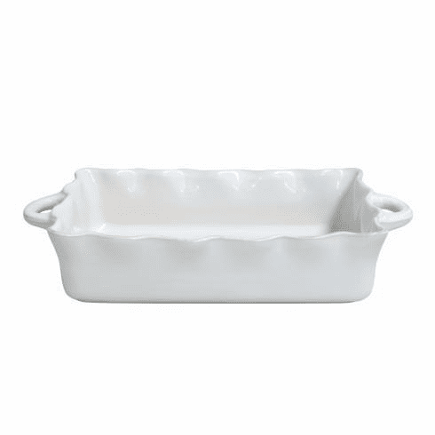 Casafina Large Rectangular Ruffled Baker White