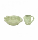 Casafina Les Enfants Plate Mug Set Alligator Green