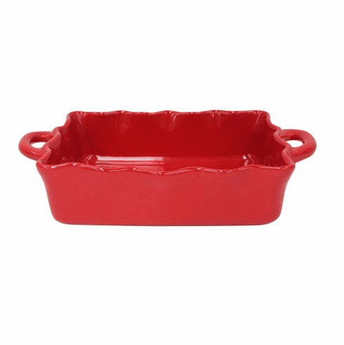 Casafina Medium Rectangular Ruffled Baker Red