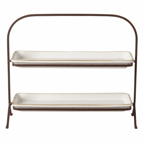 Casafina Sardegna White 2 Tier Stand with Trays