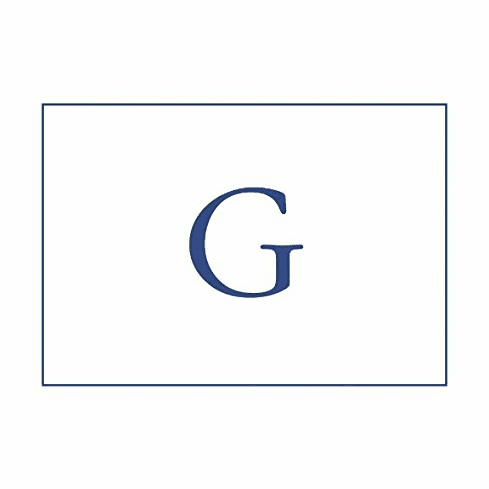 Caspari Navy Embossed Note Cards Initial G