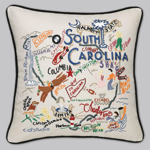 Cat Studio Embroidered State Pillow - South Carolina