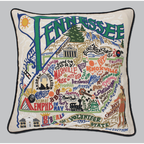 Cat Studio Embroidered State Pillow - Tennessee