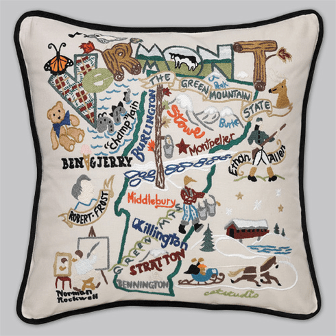 Cat Studio Embroidered State Pillow - Vermont