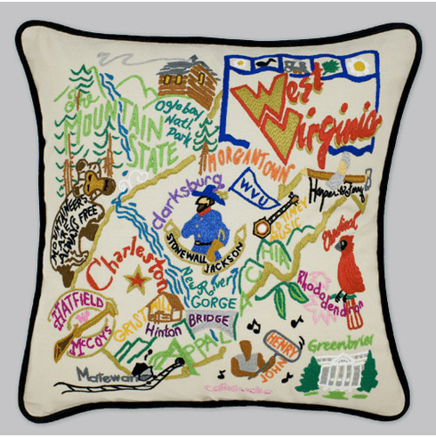 Cat Studio Embroidered State Pillow - West Virginia