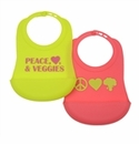 Chewbeads Bib Peace Love Veggies
