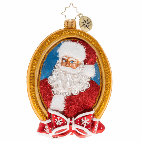 Christopher Radko A Prized Portrait Santa in Frame Ornament