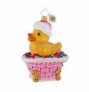 Christopher Radko Bathed In Color Ornament - Duck in a Pink Tub