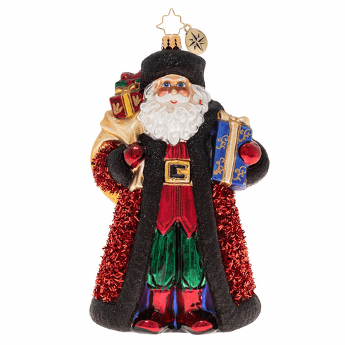 Christopher Radko Cozy In Crimson Santa Ornament