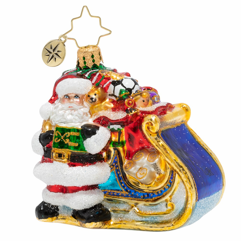 Christopher Radko Delivery On Its Way Gem Santa Ornament