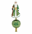 Christopher Radko Elegant Emerald Santa Finial Tree Topper Ornament