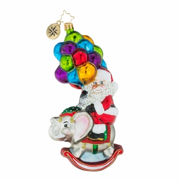Christopher Radko Just Hang In There Ornament - Santa with Elephant and Balloons