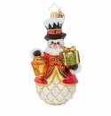 Christopher Radko Light The Way Snowman with Lantern Ornament