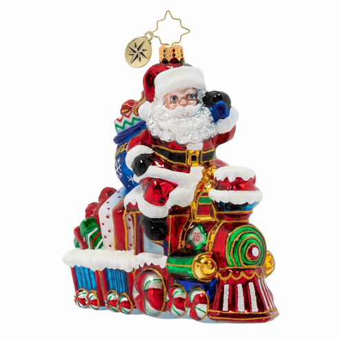 Christopher Radko On The Tracks Santa Ornament
