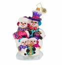 Christopher Radko Our Festive Frosty Family Snowman Ornament