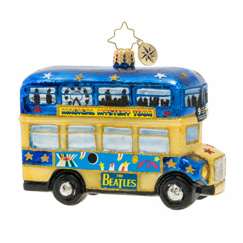 Christopher Radko Beatles Psychedelic Magical Mystery Tour Bus! Ornament