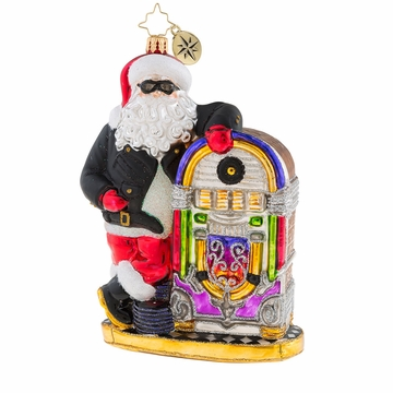 Christopher Radko Rock-N-Roll Rebel Santa Claus with Jukebox Ornament
