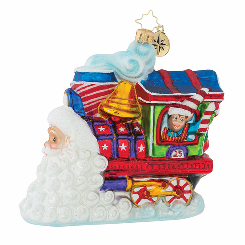 Christopher Radko Santas On Track for Christmas Train Ornament