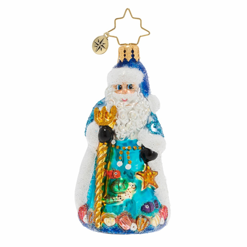 Christopher Radko Seas The Day Santa Gem Ornament