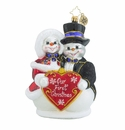 Christopher Radko Snowy Sweethearts Snowmen Our First Christmas Ornament