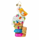 Christopher Radko Surf's Up Pelican Pete! Ornament