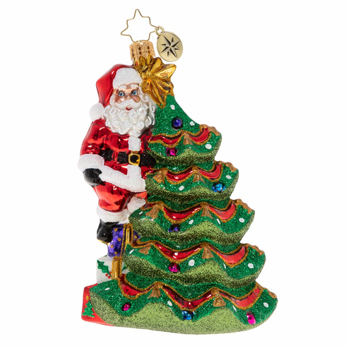 Christopher Radko Tiptoeing To The Treetop Santa Ornament