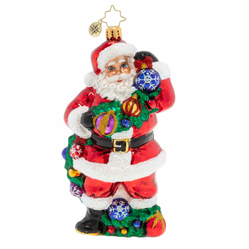 Christopher Radko With Garland & Grace Santa Ornament
