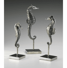 Chromed Iron Seahorses Sculptures (Set of 3) by Cyan Design